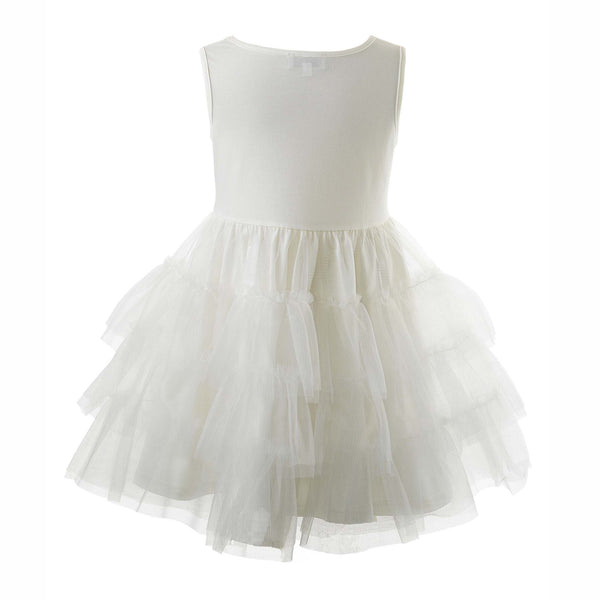 Girls White Tiered Tulle Petticoat for Dress Volume