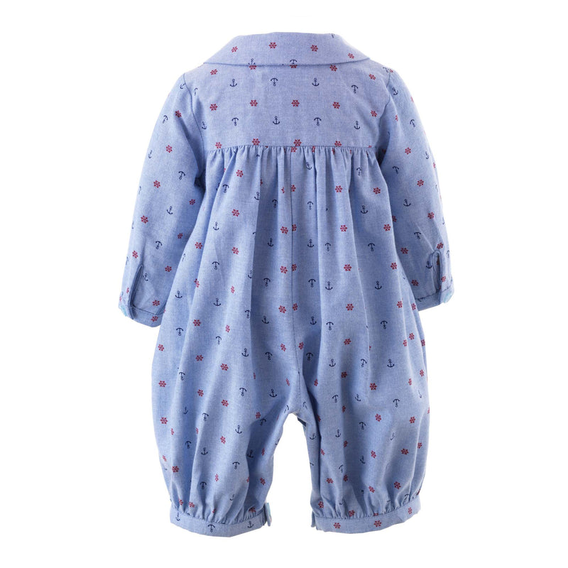 Baby Boy Blue Nautical Print Oxford Cotton Romper