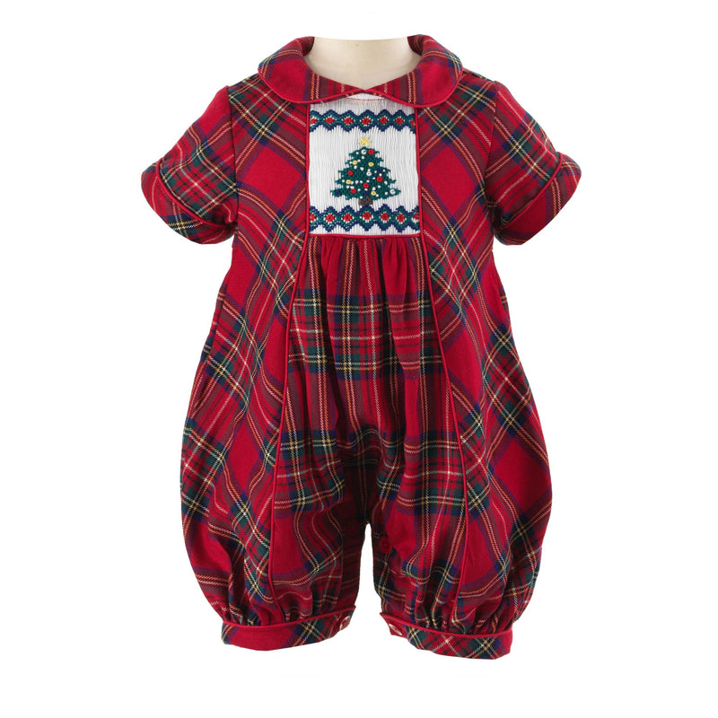 Red and Green Tartan Christmas Tree Smocked Bubble, Christmas Tree Smocked Bubble, Christas Baby Onesie, Christmas Baby Outfit, Smocked Christmas Baby Outfit