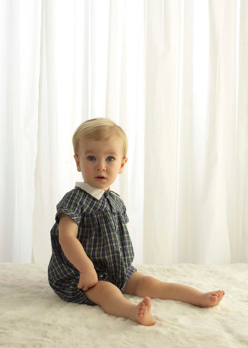 Baby Boy Green and Navy Tartan Bubble