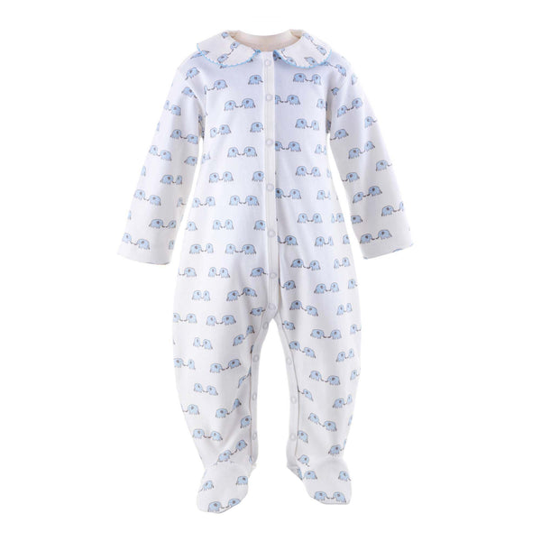 Baby Boy Blue Elephant Print Footed Onesie