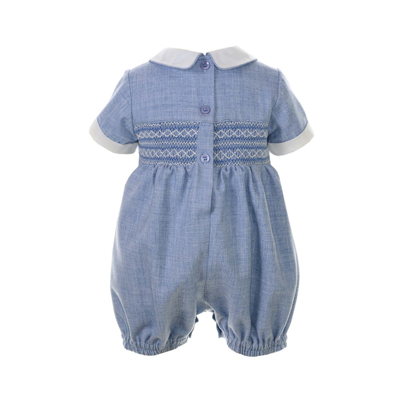 Baby Boy Blue Tweed Geometric Smocked Bubble