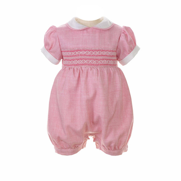 Baby Girl Pink Tweed Geometric Hand Smocked Bubble