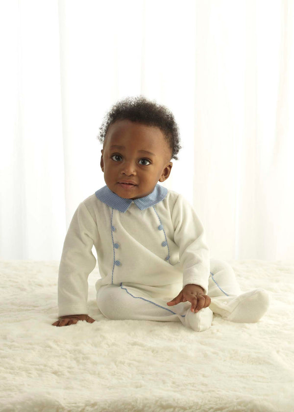Houndstooth Trim Velour Babygro