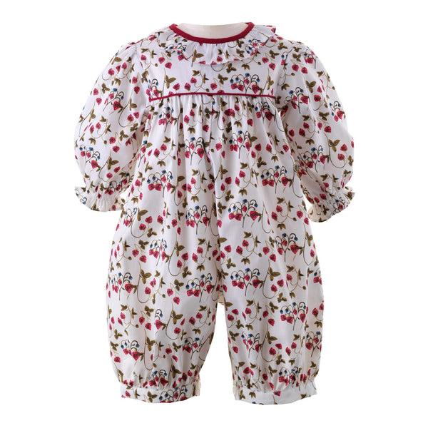 Baby Girl Strawberry Print Bubble