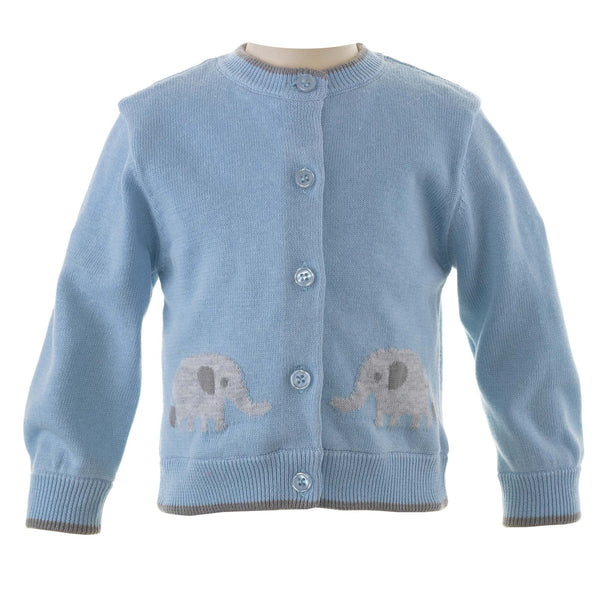 Blue Elephant Intarsia Cardigan for Baby Boys