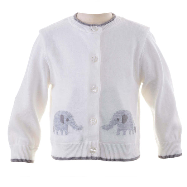 White Elephant Intarsia Cardigan for Babies