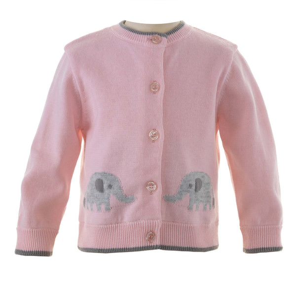Pink Elephant Intarsia Cardigan for Baby Girls