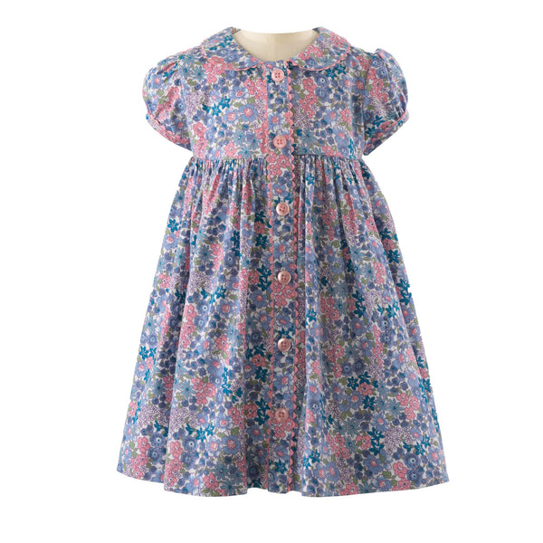 Winter Floral Button Front Dress & Bloomers