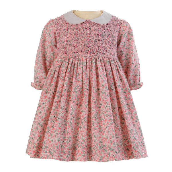 Floral Babycord Smocked Dress & Bloomers