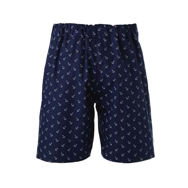 Boys Navy and White Anchor Print Pull On Shorts