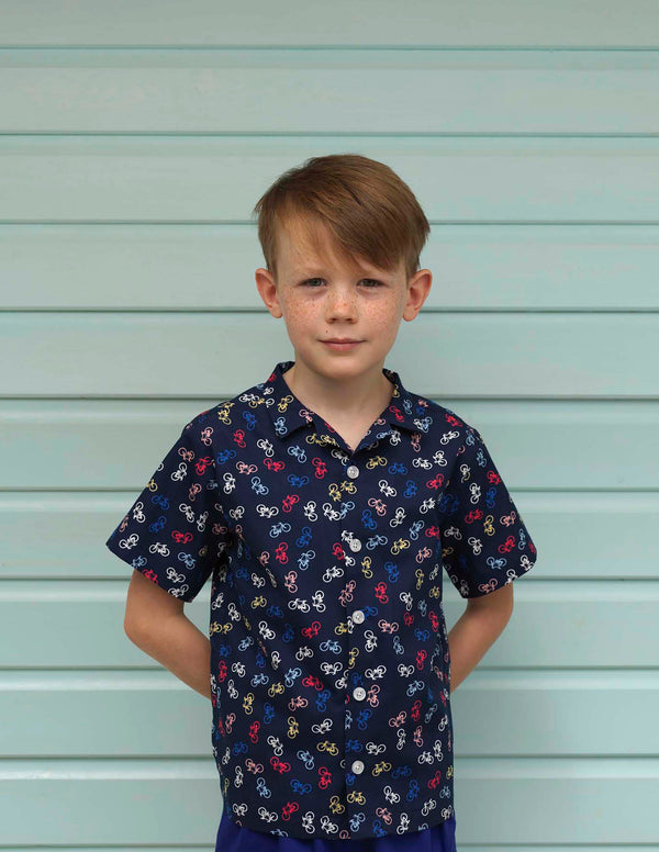 Boys Navy Bicycle Print Shirt Short Sleeve Button Down Shirt