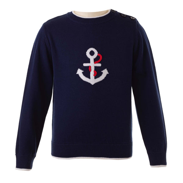 Boys Nautical Navy Anchor Motif Pullover Sweater