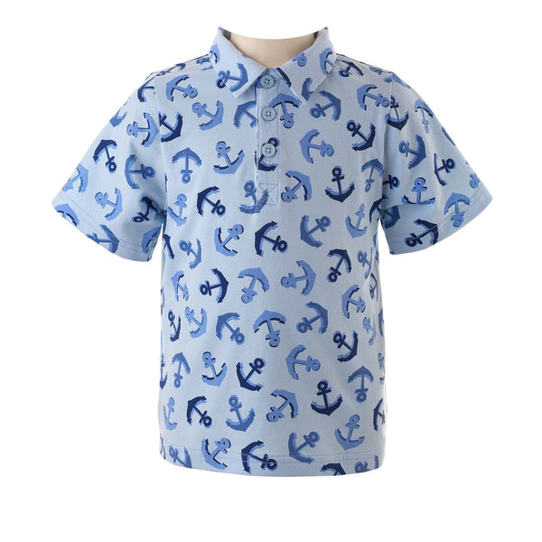 Boys Blue Anchor Print Polo Shirt