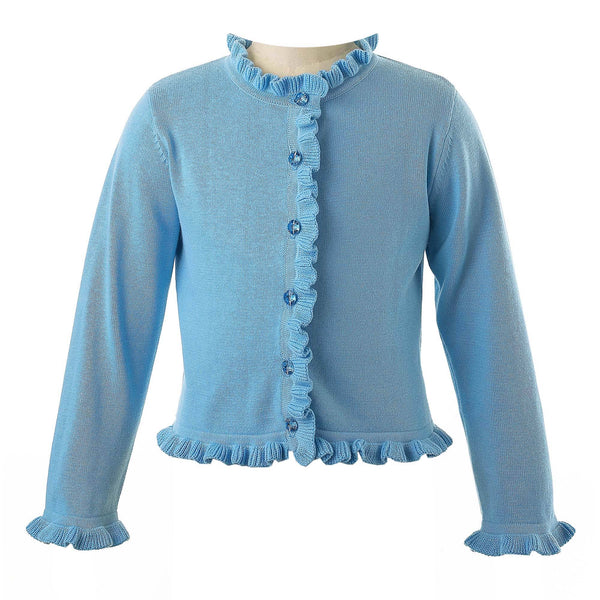 Girls Blue Frill Trim Cardigan