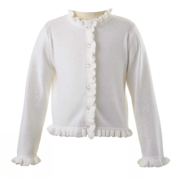 Girls Ivory Frill Cardigan