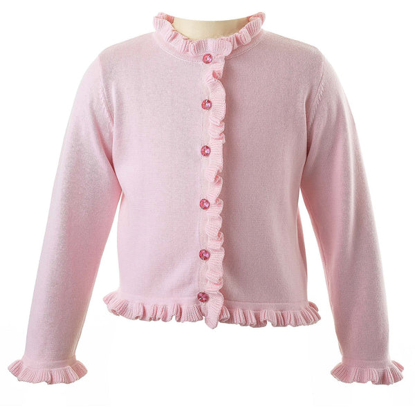Girls Pink Frill Cardigan