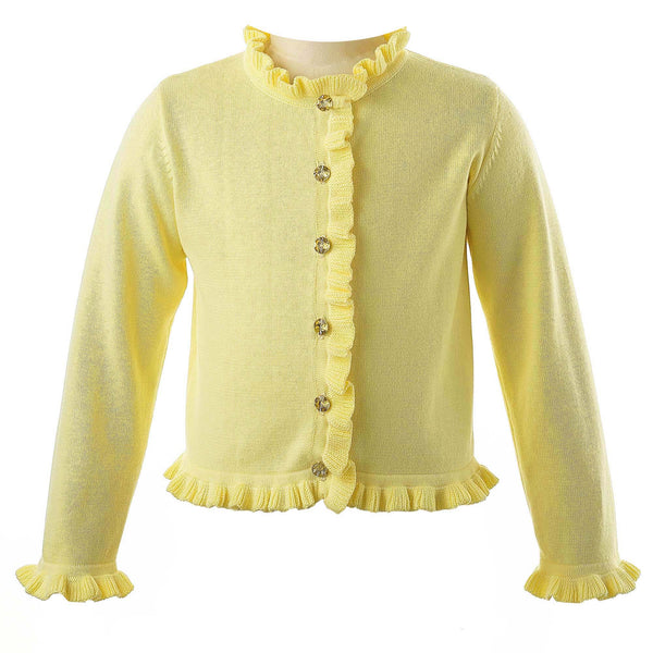 Girls Yellow Frill Cardigan