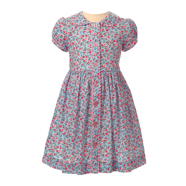 Girls Blue and Pink Floral Liberty Print Button Front Short Sleeve Dress