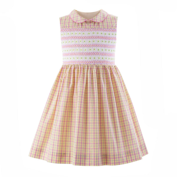 Checked Flower Smocked Dress