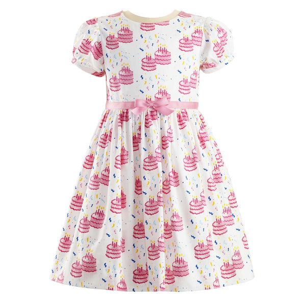 Girls Pink and White Birthday Cake Party Dress