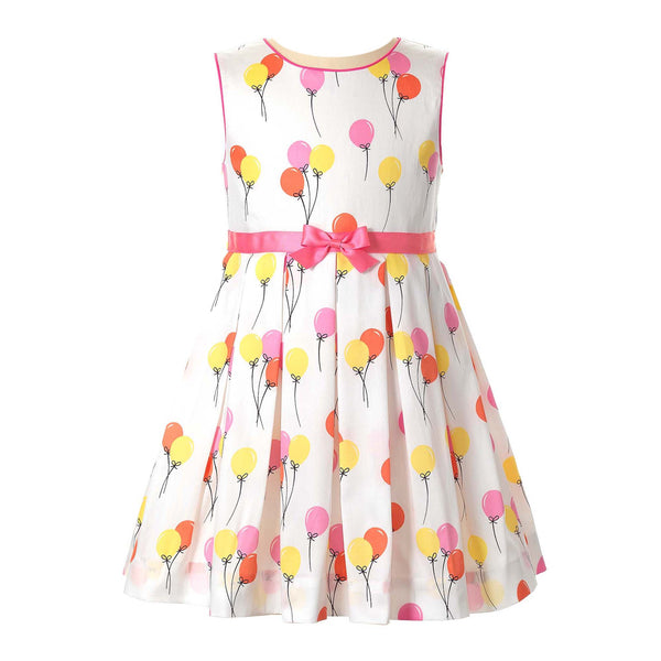 Girls Balloon Print Pleated Sleeveless Birthday Dress