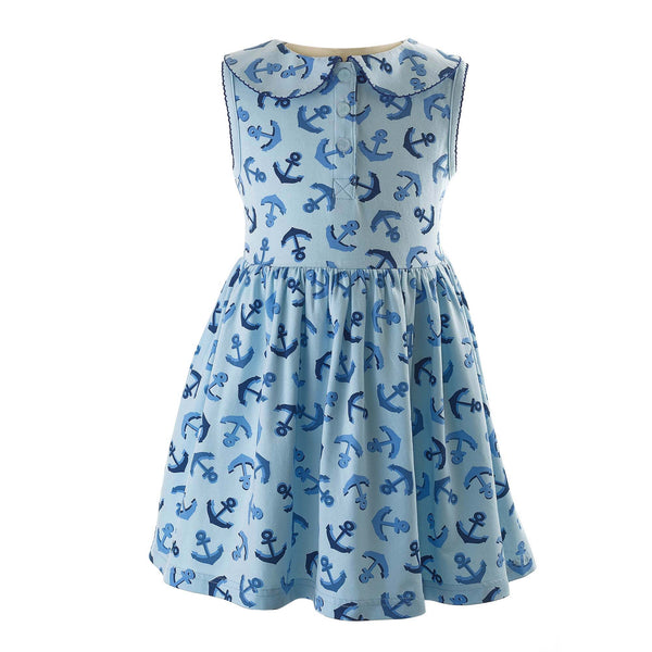 Girls Blue Sleeveless Anchor Print Knit Jersey Dress
