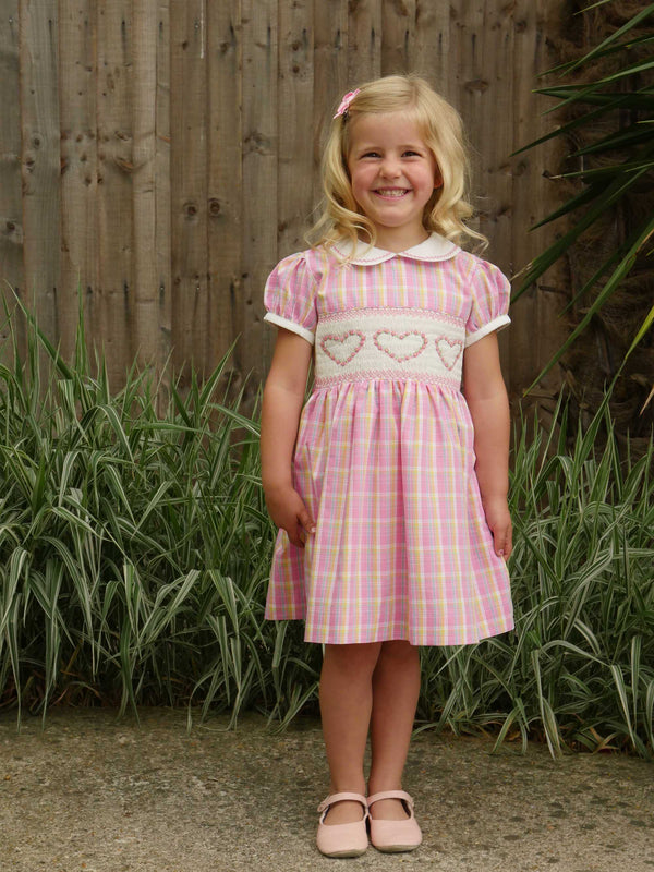 Checked Heart Smocked Dress
