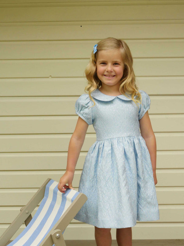 Girls Light Blue Puff Sleeve Damask Party Dress With Collar