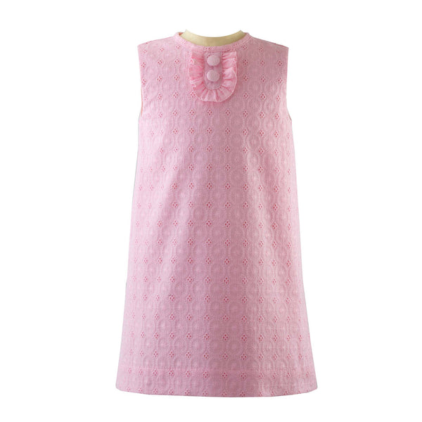Girls Pink Eyelet Shift Dress