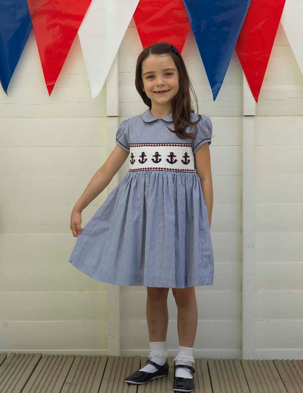 Girls Nautical Short Sleeve Anchor Smocked Dress