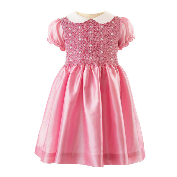 Pink Taffeta Rosebud Smocked Dress