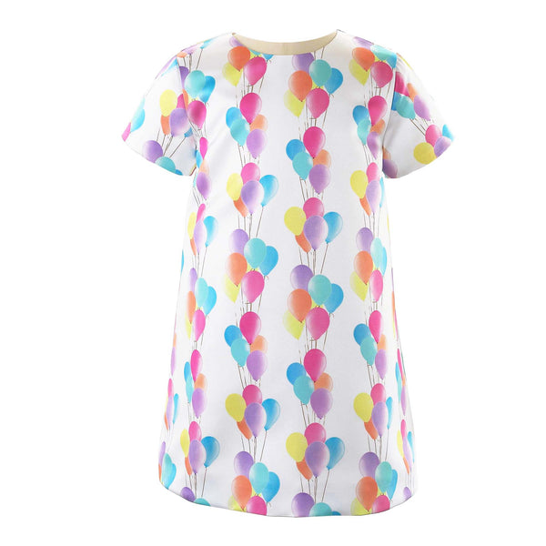 Girls Balloon Print Satin Shift Party Dress