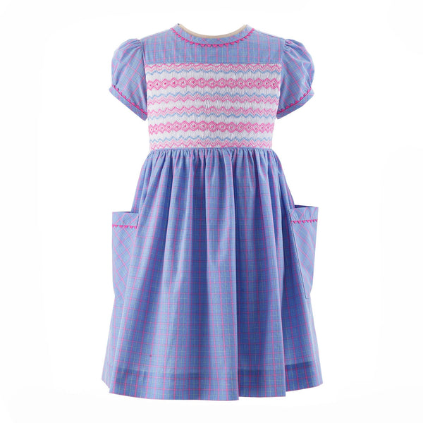 Checked Geometric Smocked Dress