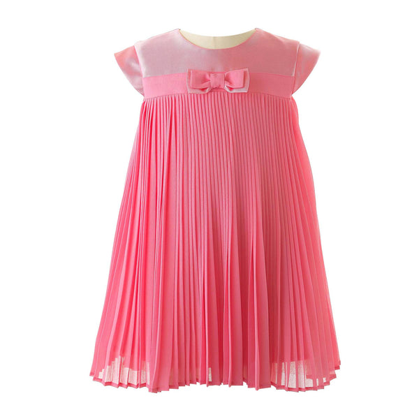 Rachel Riley Hot Pink Pleated Party Dress for Girls