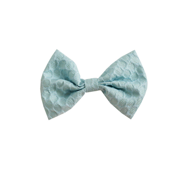Girls Blue Shimmer Damask Maxi Hairbow