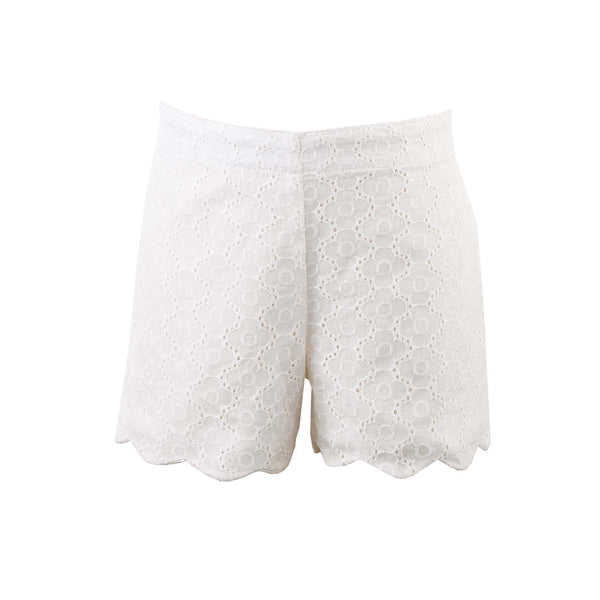 Girls White Eyelet Scalloped Shorts