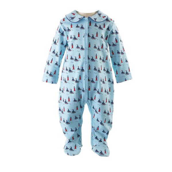 Baby Boy Sailboat Footed Onesie