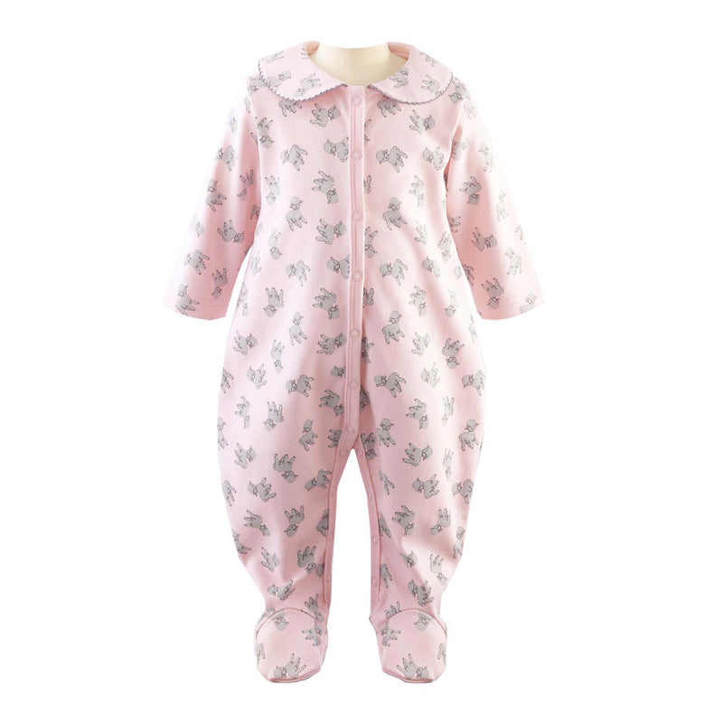 Baby Girl Pink Lamb Footed Onesie