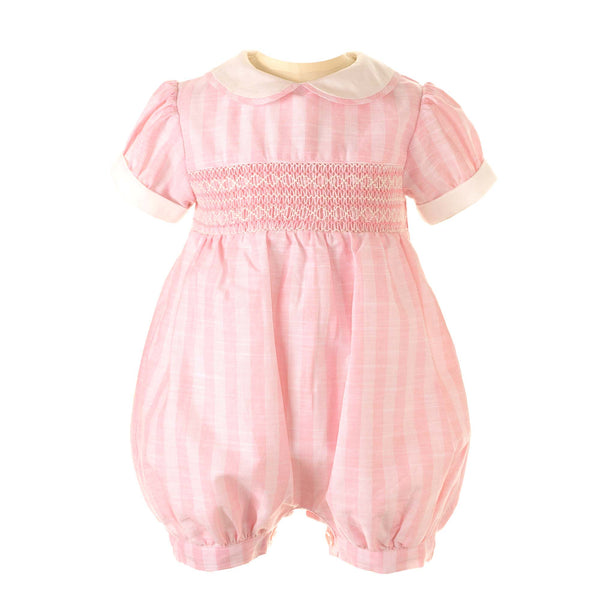 Striped Geometric Smocked Babysuit