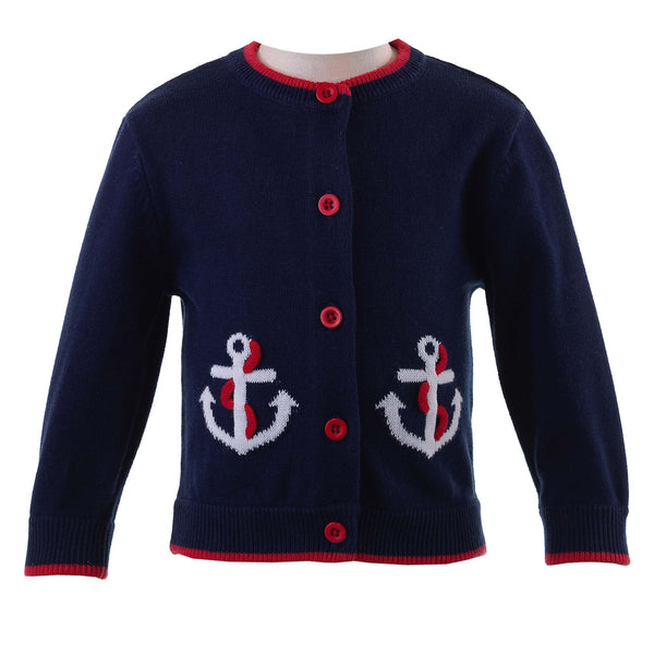Baby Girl Nautical Navy Anchor Summer Cardigan