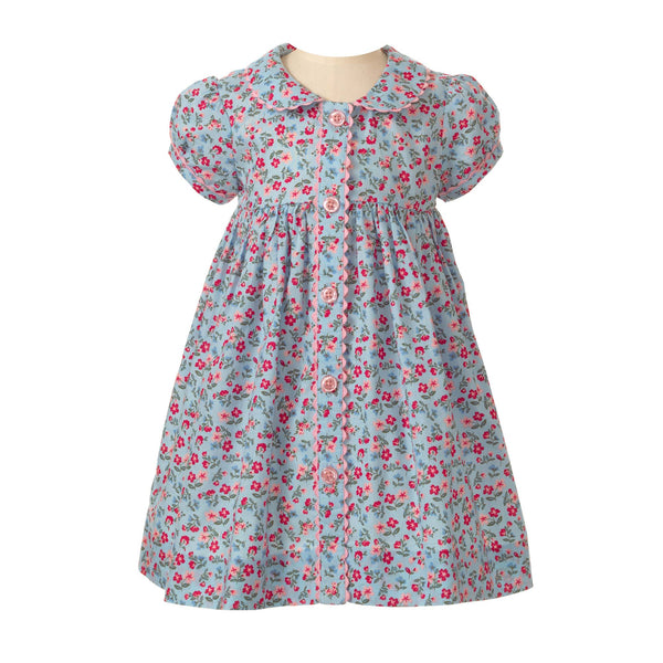 Baby Girl Blue and Pink Floral Liberty Print Button Front Short Sleeve Dress