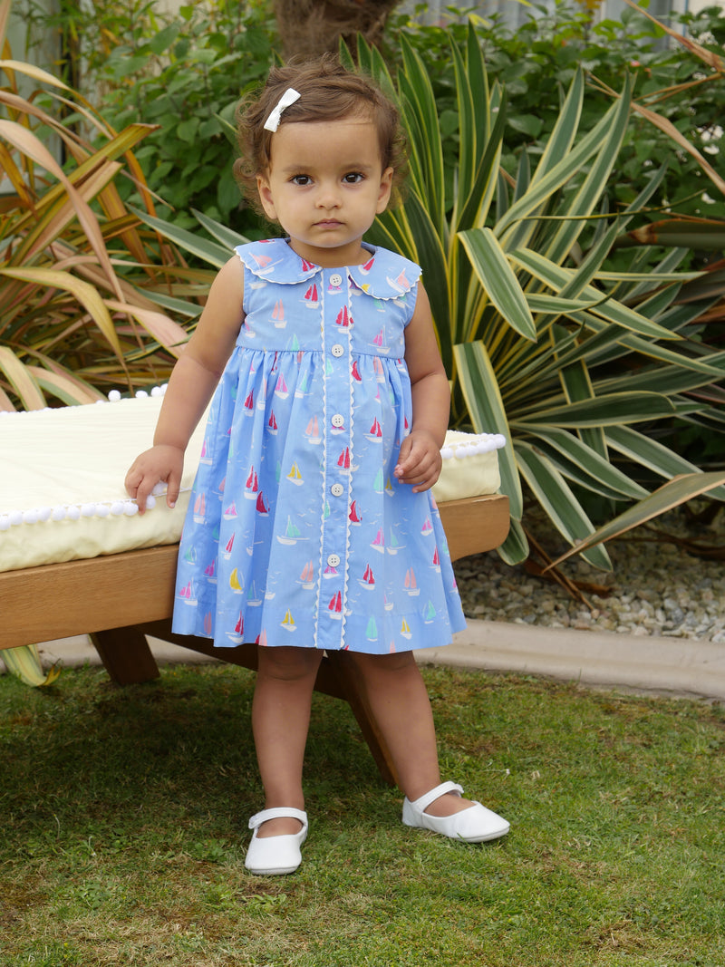 Sailboat Button Front Dress & Bloomers