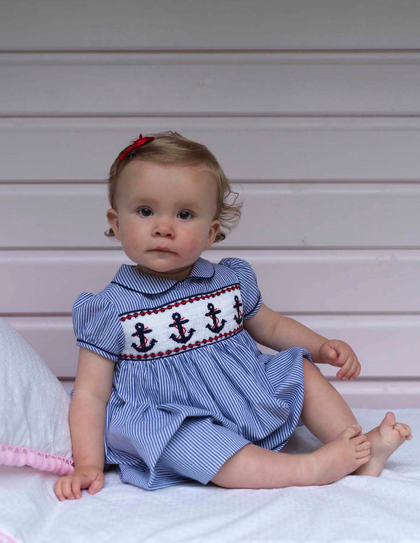 Baby Girl Nautical Anchor Smocked Dress & Bloomers