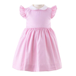 Pink Gingham Frill Sleeve Dress & Bloomers