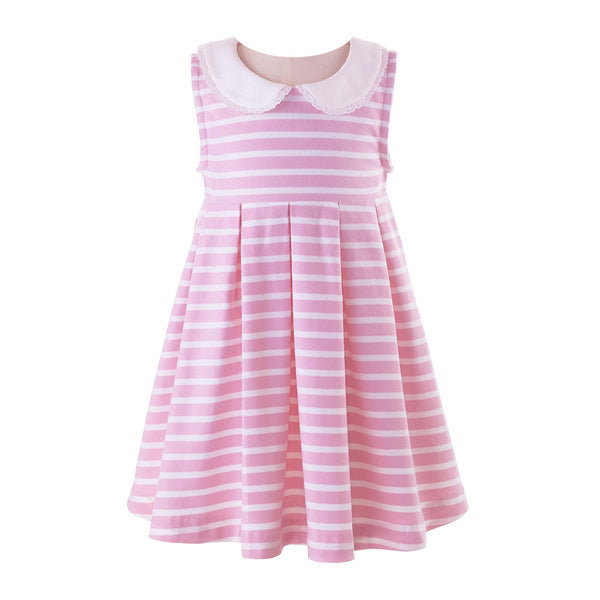 Pink Breton Stripe Jersey Dress
