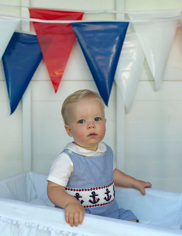 Baby Boy Nautical Pinstripe Anchor Smocked Overalls