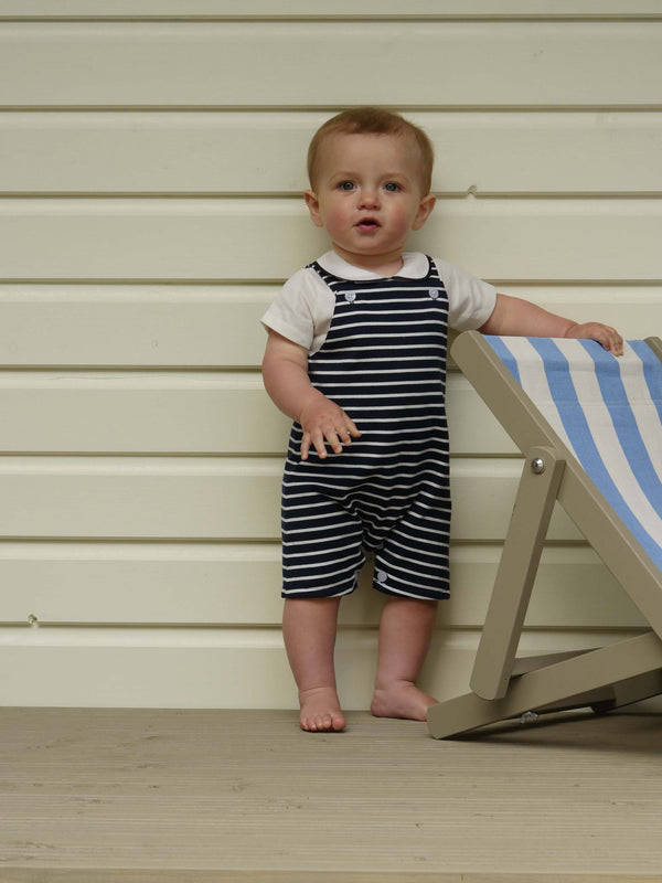 Baby Boy Navy and White Striped Overalls