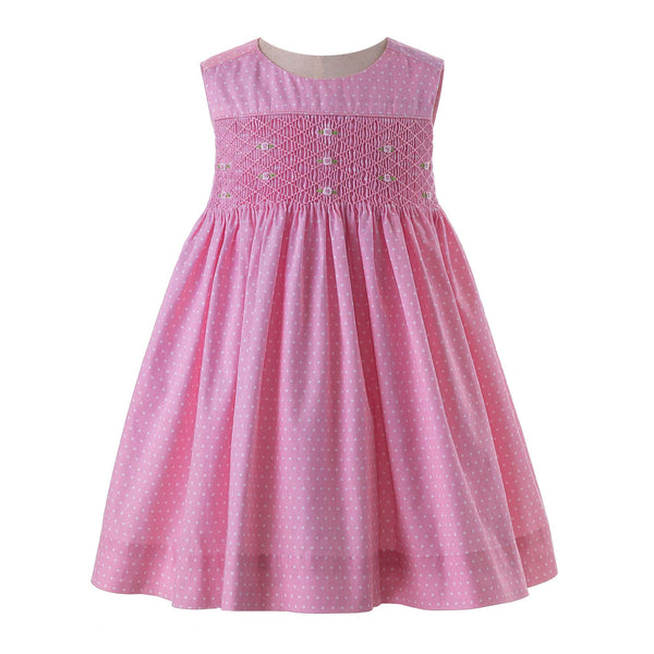 Rose Smocked Polka Dot Pinafore