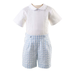 Pin Tuck Shirt & Checked Short Set